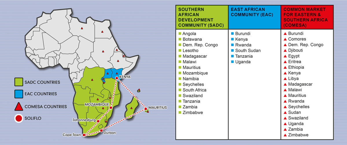 Map of countries in Sub-Saharan Africa that Soliflo delivers to.