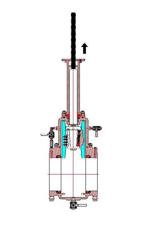 Rising Stem Valves: Valve in fully open position with  discs fully retracted in bonnet ensures: full bore = maximum flow = pigable